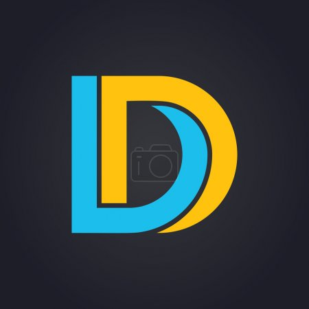 Vector graphic elegant impossible alphabet symbol in two colors. Letter D
