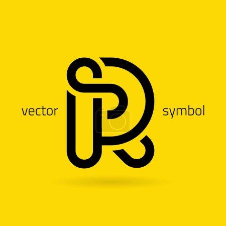 Symbole graphique de l'alphabet de ligne créative Lettre R