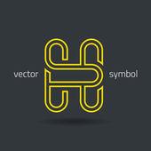 Vector graphic creative line alphabet symbol  Letter H