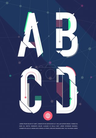 Illustration for Vector graphic alphabet in a set. Contains vibrant colors and minimal design on a velvet abstract background. - Royalty Free Image