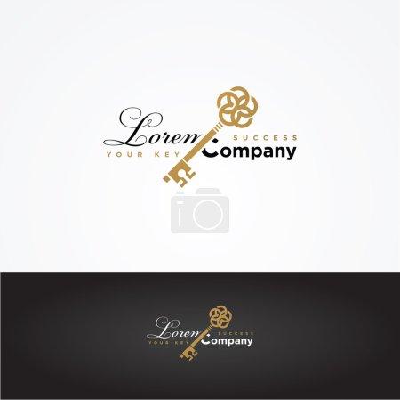 Illustration pour Illustration vectorielle en forme de clé graphique avec un exemple de texte pour votre entreprise - image libre de droit