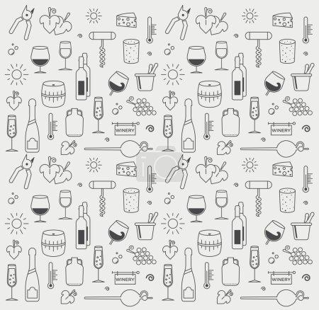 Photo pour Ensemble d'icône de vin graphique vectoriel. Avec des lignes minimalistes - image libre de droit