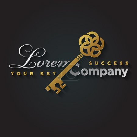 Gold and silver key shaped symbol