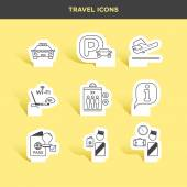 airport travel icons set