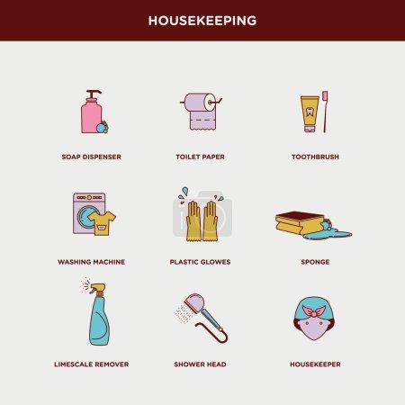 Housekeeping, home icons set