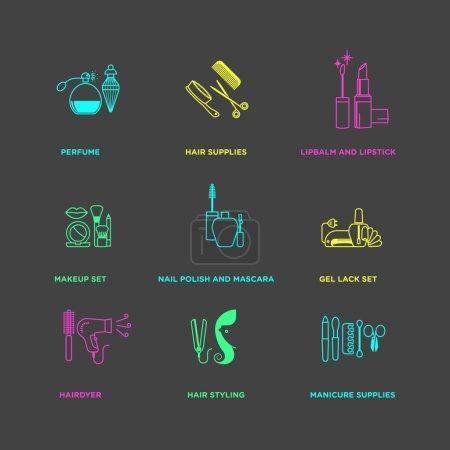 Illustration pour Produits de beauté, cosmétiques et soins de santé néon négatifs icônes ensemble. illustration vectorielle - image libre de droit