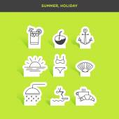 set of summer and holiday