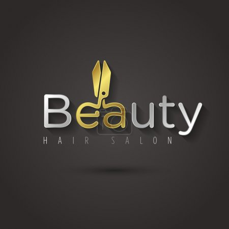 Illustration for Beauty salon logo template. Vector graphic golden manicure scissors symbol with sample text for your company - Royalty Free Image