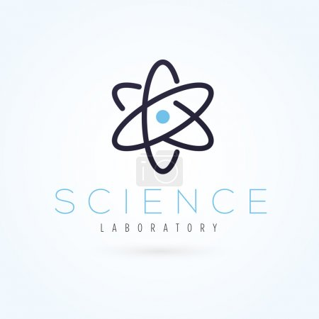 Illustration for Vector graphic scientific atom symbol with sample text for your company - Royalty Free Image