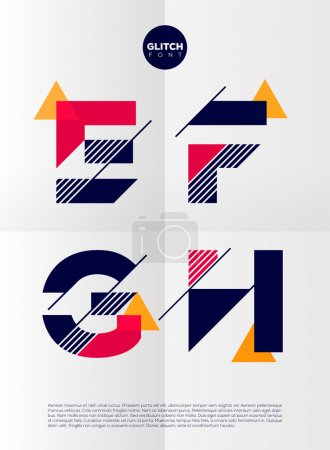 Illustration for Typographic alphabet in a set. Contains vibrant colors and minimal design on a minimal abstract background.  E, F, G, H - Royalty Free Image