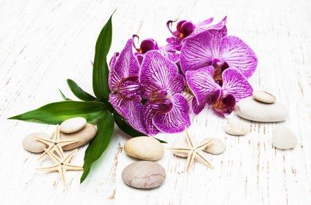Photo pour Orchidées et pierre de massage sur un vieux fond en bois - image libre de droit