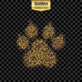 Gold glitter vector icon of animal footprint isolated on background Art creative concept illustration for web glow light confetti bright sequins sparkle tinsel abstract bling shimmer dust foil