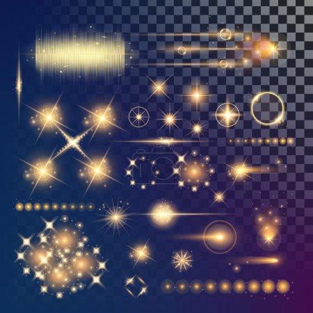 Illustration pour Concept créatif Ensemble vectoriel d'étoiles à effet de lumière brillante éclate avec des étincelles isolées sur fond noir. Pour la conception d'art de modèle d'illustration, bannière pour Noël célèbrent, rayon d'énergie flash magique. - image libre de droit