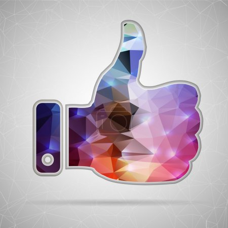 Abstract Creative concept vector icon of thumbs up for Web and Mobile Applications isolated on background. Vector illustration template design, Business infographic and social media, origami icons.