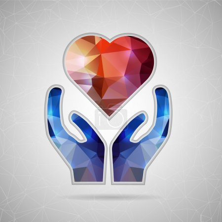 Illustration for Abstract Creative concept vector icon of heart in hand for Web and Mobile Applications isolated on background. Vector illustration template design, Business infographic and social media, origami icons - Royalty Free Image