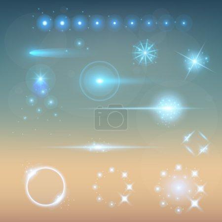 Illustration pour Concept créatif Ensemble vectoriel d'étoiles à effet de lumière brillante éclate avec des étincelles isolées sur fond noir. Pour la conception d'art de modèle d'illustration, bannière pour Noël célèbrent, rayon d'énergie flash magique - image libre de droit