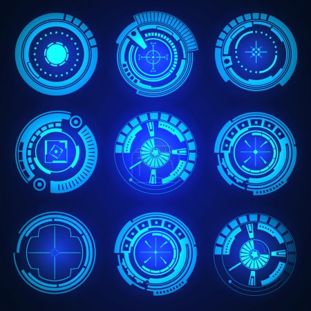 Illustration for Abstract future, concept vector futuristic blue virtual graphic touch user interface HUD. For web, site, mobile applications isolated on black background, techno, online design, business, gui, ui - Royalty Free Image
