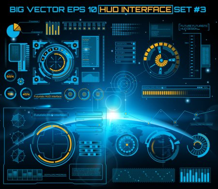 Illustration pour Résumé futur, concept vectoriel futuriste bleu interface utilisateur tactile graphique virtuelle HUD. Pour web, site, applications mobiles isolées sur fond noir, techno, design en ligne, entreprise, gui, ui - image libre de droit