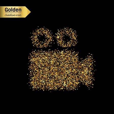 Gold glitter vector icon of video camera isolated on background. Art creative concept illustration for web, glow light confetti, bright sequins, sparkle tinsel, abstract bling, shimmer dust, foil.