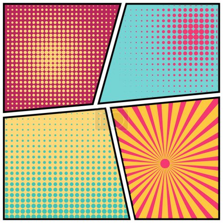 Illustration for Abstract Creative concept vector comics pop art style blank layout template with clouds beams and isolated dots pattern on background. For Web and Mobile Applications, illustration template design - Royalty Free Image