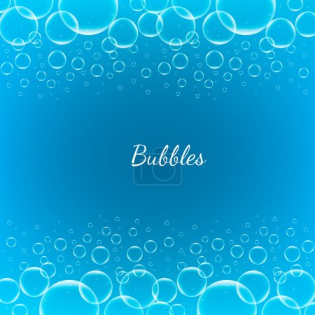 Illustration for Abstract Creative concept vector shiny transparent bubbles for Web and Mobile Applications isolated on blue background, aqua art illustration template design, business infographic and social media - Royalty Free Image