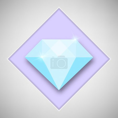 Abstract creative concept vector icon of diamond. For web and mobile content isolated on background, unusual template design, flat silhouette object and social media image, triangle art origami.