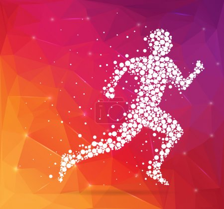 Illustration for Abstract Creative concept vector image of running man for Web and Mobile Applications isolated on background, art illustration template design, business infographic and social media, icon, symbol - Royalty Free Image