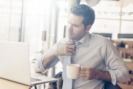 Photo for Portrait of a businessman having coffee break - Royalty Free Image