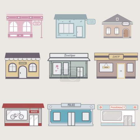 Set of cute buildings for infographics.