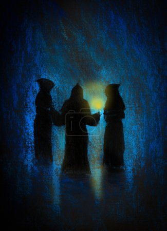 three monks with a candle