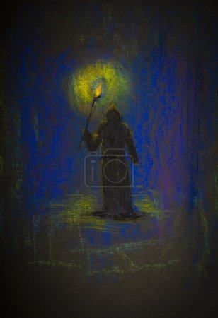 monk with a torch in the dark
