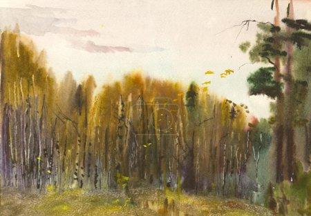 Photo pour Paysage d'automne peint à l'aquarelle - image libre de droit
