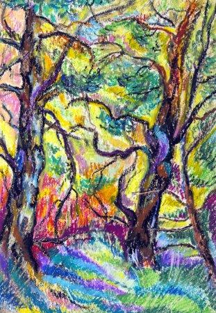 Photo pour Beau paysage d'été avec des arbres peints à l'huile - image libre de droit