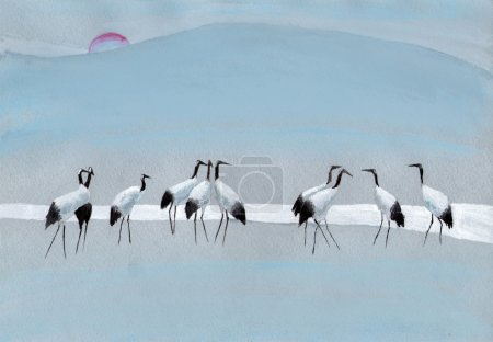 Storks on the river