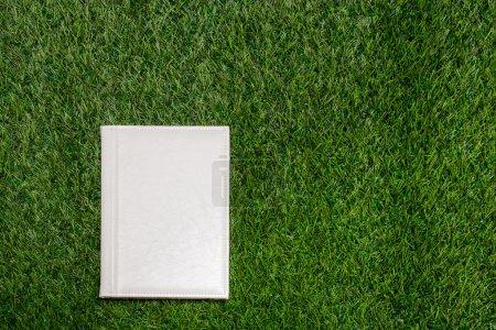 Photo pour Livre vide en cuir blanc couché sur l'herbe - image libre de droit