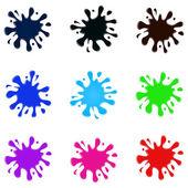 Set of colored splatters