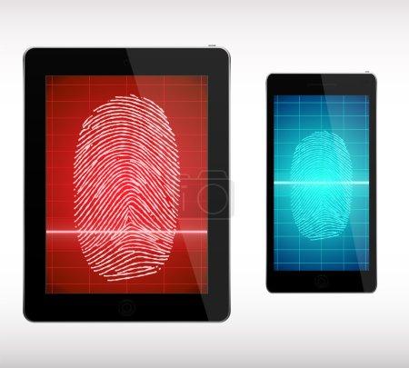 Fingerprint Scanning  on Smart Phone and Tablet  - Illustration.