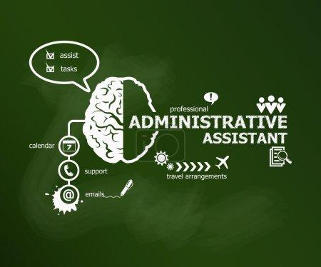 Illustration pour Adjoint administratif concept d'entreprise. Ecriture à la main Adjoint administratif à la craie sur conseil scolaire vert - image libre de droit