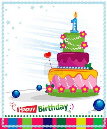 First Birthday Cake. Children postcard. Day of birth.