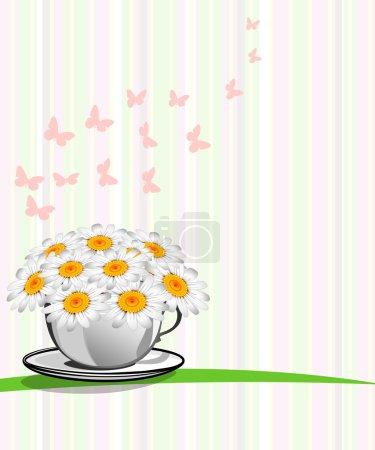 Illustration pour Carte de voeux avec marguerites et fond abstrait. Camomille fleur . - image libre de droit