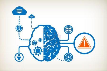 Danger warning and abstract human brain