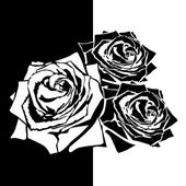 White silhouette of rose with leaves Black background