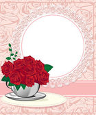 Red rose in a white cup Wedding invitations or announcements