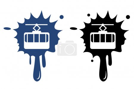 Cable way funicular vector icon isolated