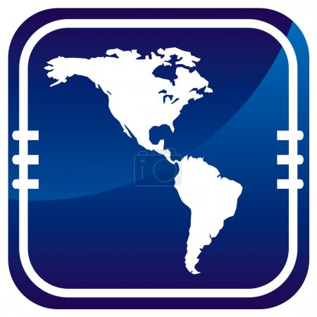 Americas map vector on blue button