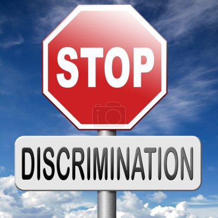 Photo pour N'arrêter la discrimination droits égaux aucun racisme homophobie ou le sexe - image libre de droit