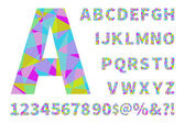 Set of geometric vector alphabet and numbers Material geometry Polygonal geometry EPS10