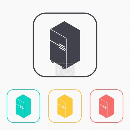 fridge isometric 3d color icon set