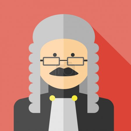 Illustration pour Vecteur plat profession juge icône colorée. Eps10 - image libre de droit