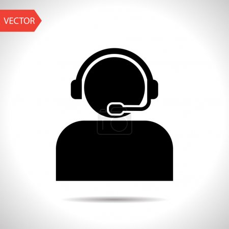 Customer support operator with headset icon